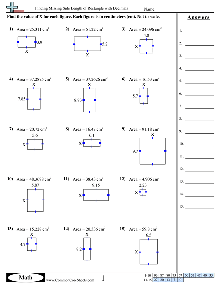 Area And Perimeter Worksheets For 4th Grade Answer Key