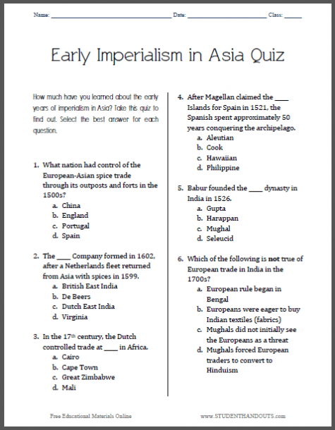 Early Imperialism In Asia