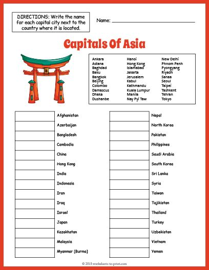 Free Capitals Of Asia Geography Worksheet