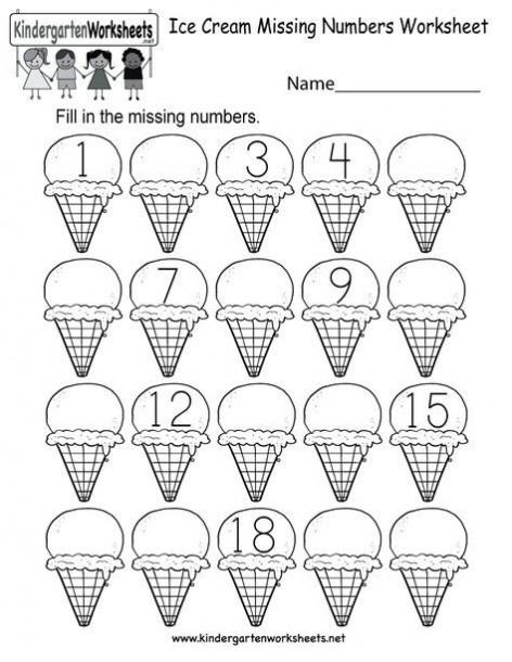 Free Printable Ice Cream Missing Numbers 1