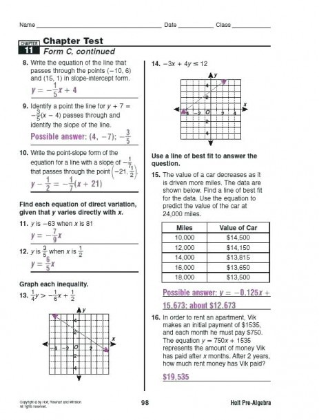 Algebra Worksheets For Grade 11