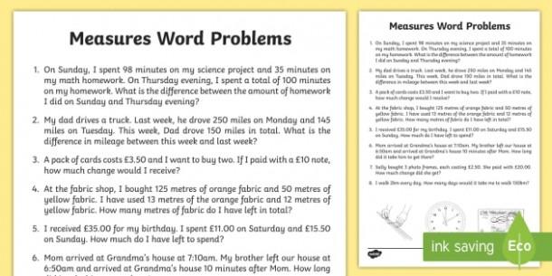 Measure Word Problems Worksheet   Worksheet
