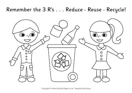 Recycling Colouring Page