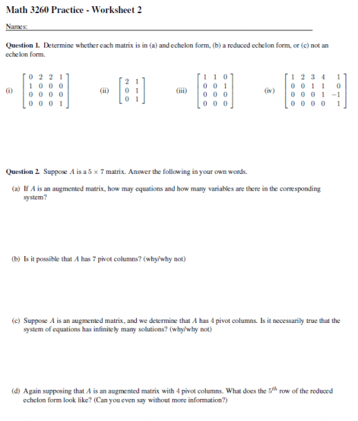 Solved  Math 3260 Practice