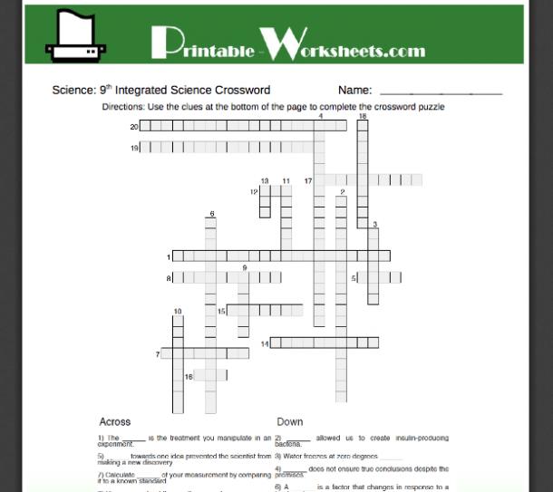9th Grade Science Worksheets Printable