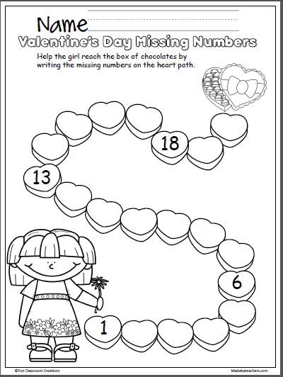 Valentine S Day Missing Numbers Activity 1