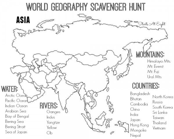 World Geography Scavenger Hunt  Asia   Free Printable