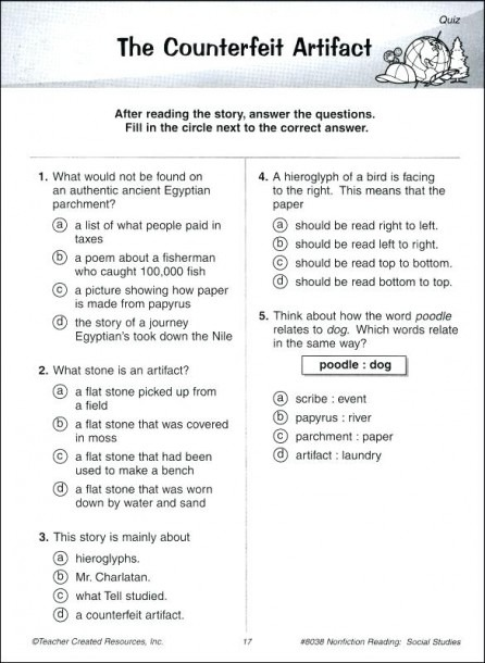 9th Grade Reading Comprehension Worksheets With Answers