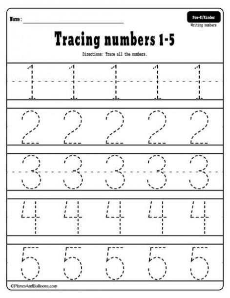Printable Tracing Numbers 1 5 Worksheets