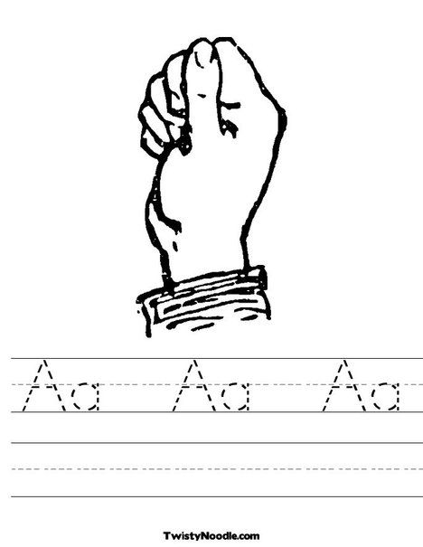 Sign Language Letter A Worksheet From Twistynoodle Com
