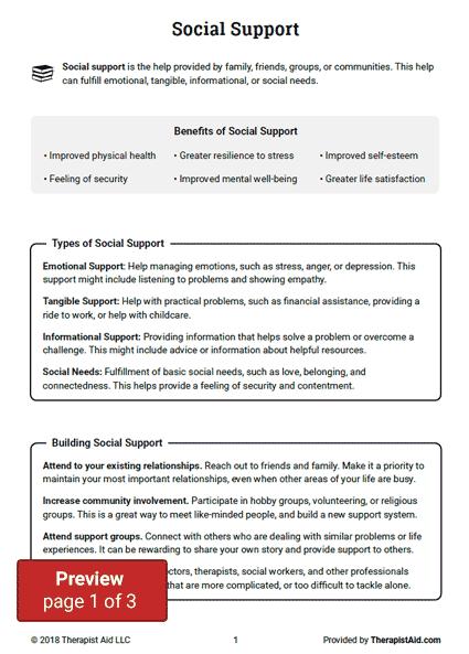 Social Support  Worksheet