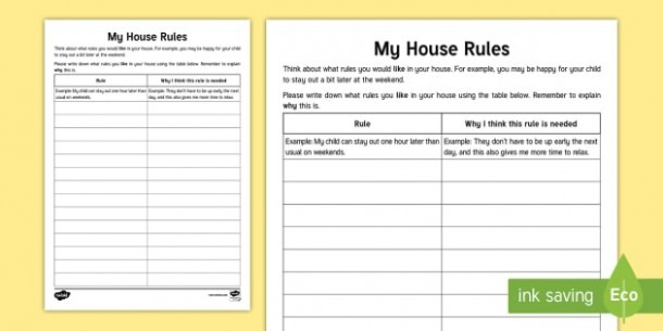 What House Rules Would You Like  Parent Carer Worksheet   Worksheet