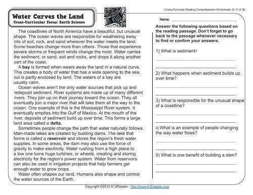 Reading Comprehension Worksheets 4th
