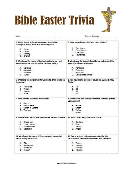 Bible Easter Trivia