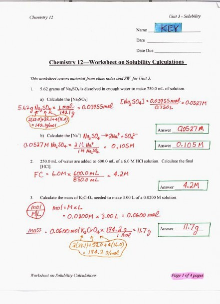 Solutions Chemistry Worksheet With Answers