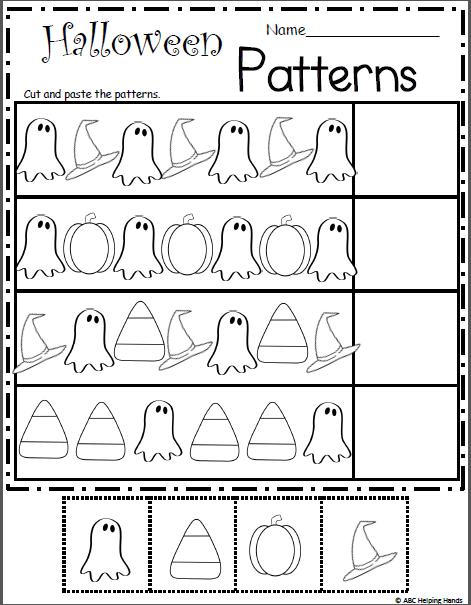 Preschool Halloween Cut And Paste Worksheets