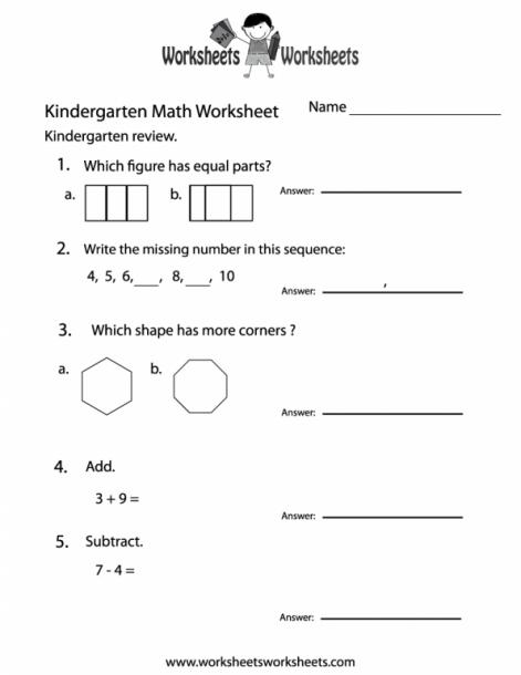 Kindergarten Math Practice Worksheet Free Printable Educational
