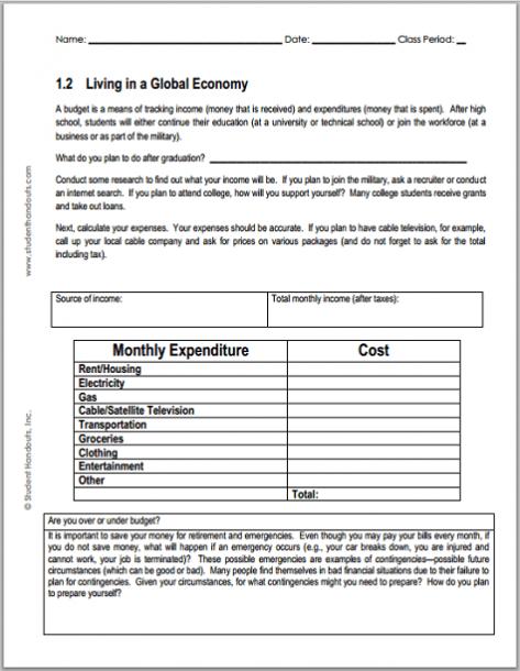 Monthly Budget Worksheet For Economics