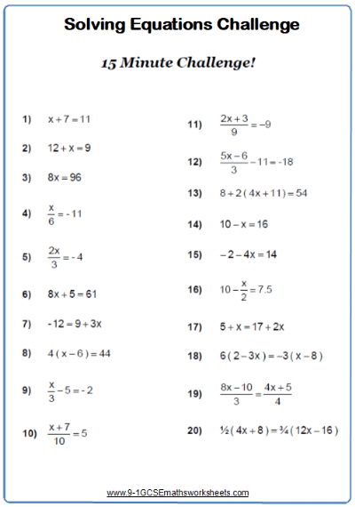 Solving Linear Equations Worksheet Practice Questions
