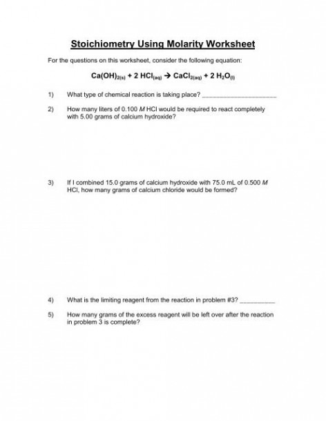 Molarity Worksheet And Key