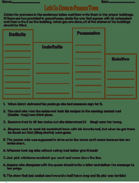 In 6th Grade Workbook Worksheet Indefinite Pronouns