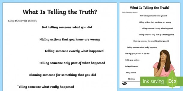 What Is Telling The Truth  Worksheet